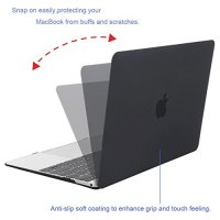 Mosiso Plastic Hard Case Cover for MacBook 12 Inch with Retina Display Model A1534 (Version 2017/2016/2015), Black